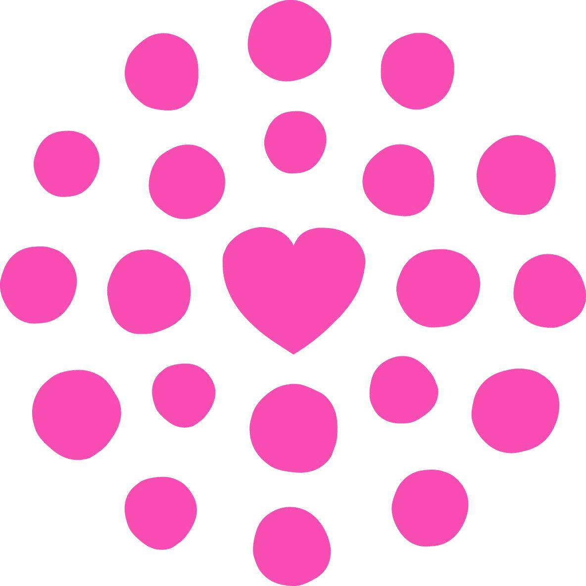 Lasten ja nuorten keskuksen liikemerkki, jossa eri kokoisia palloja kahdessa kehässä sydämen ympärillä.