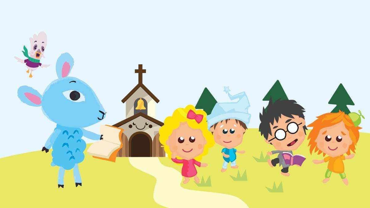 Piirretyt Lastenkirkon hahmot vierekkäin.