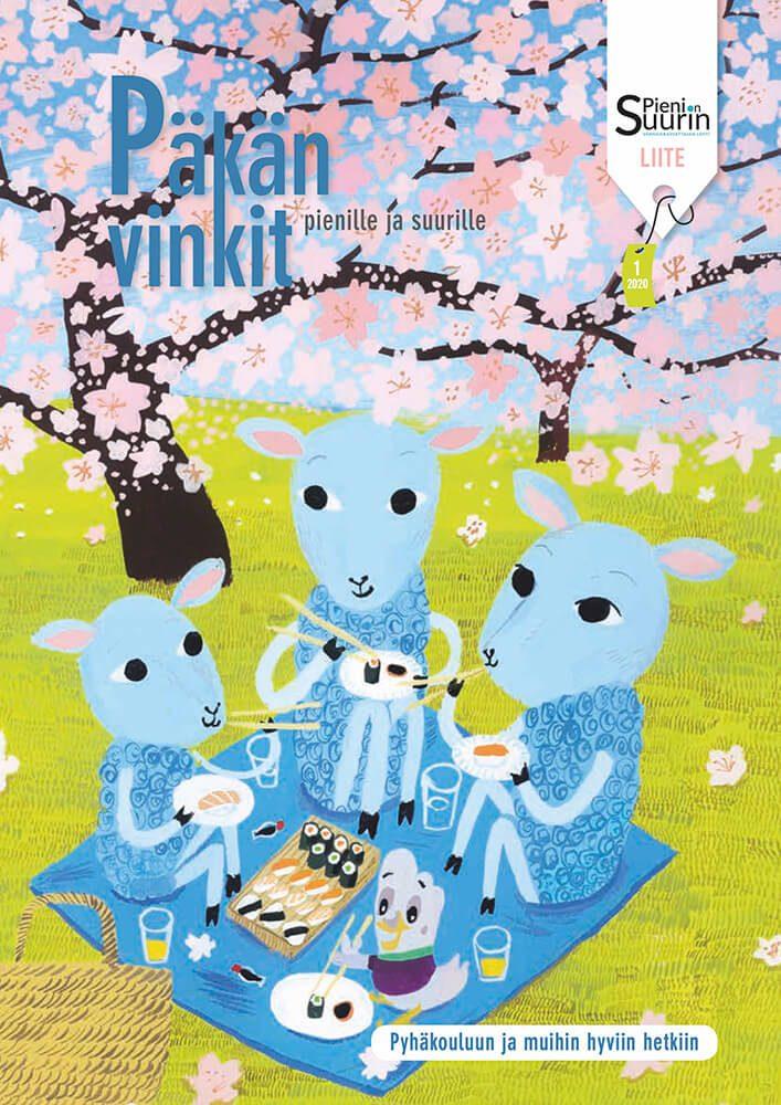Piirustus kolmesta lampaasta ja pulusta eväsretkellä. Taustalla näkyy kukkivia kirsikkapuita.