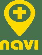 Navin keltainen logo, jossa on risti keskellä.