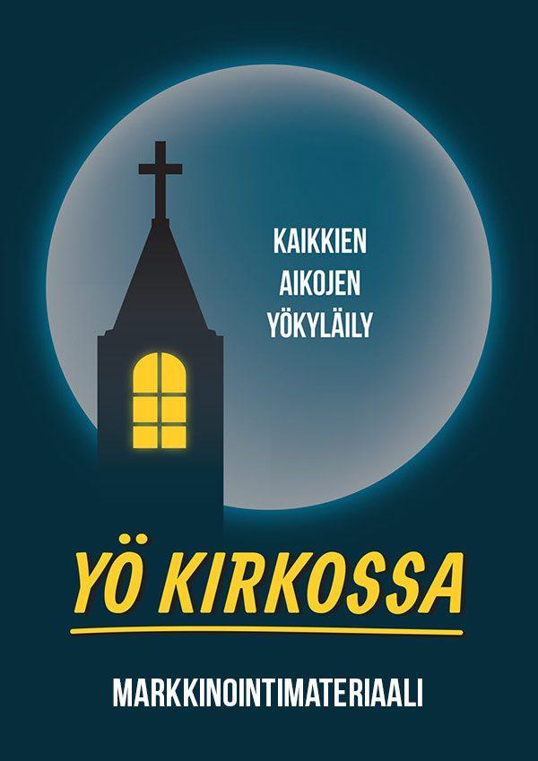 Yö kirkossa -markkinointimateriaalin kansikuva