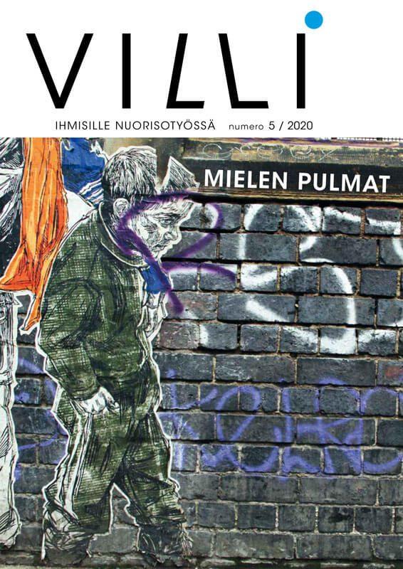 Lehden kannessa kuva graffitista.