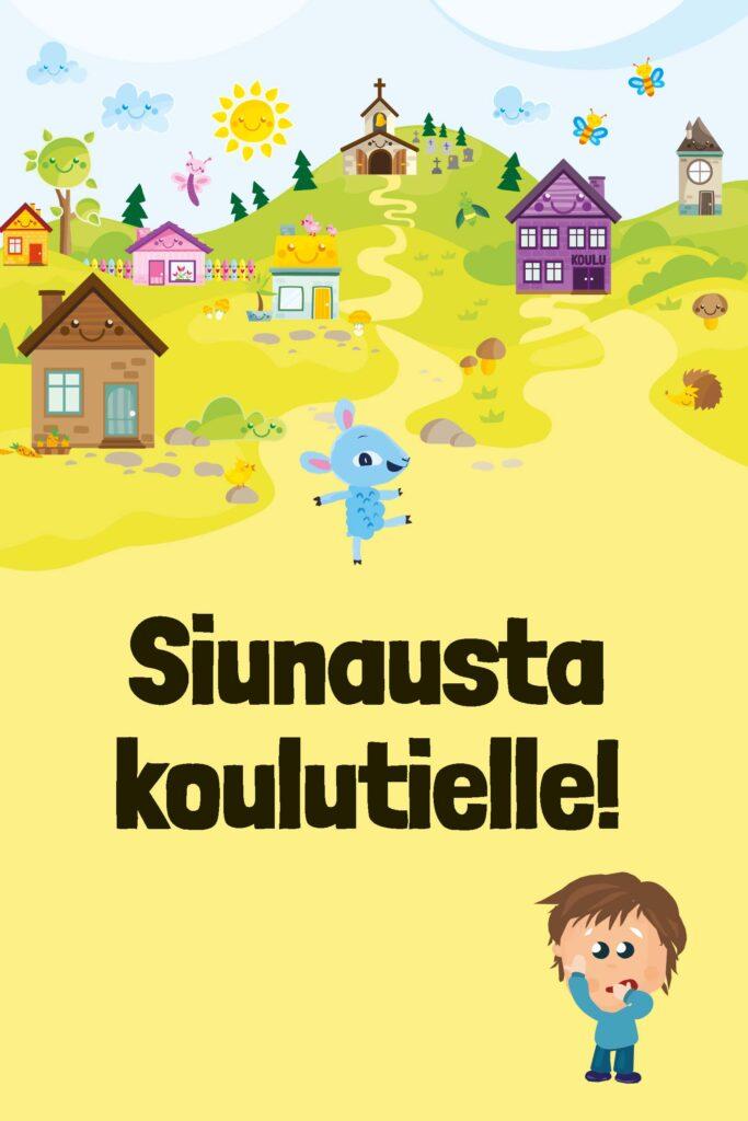 Lastenkirkon Päkä-lammas ja yksi Tutkimuspartion hahmo kulkevat kohti koulua aurinkoisessa Lastenkirkon kylän maisemassa