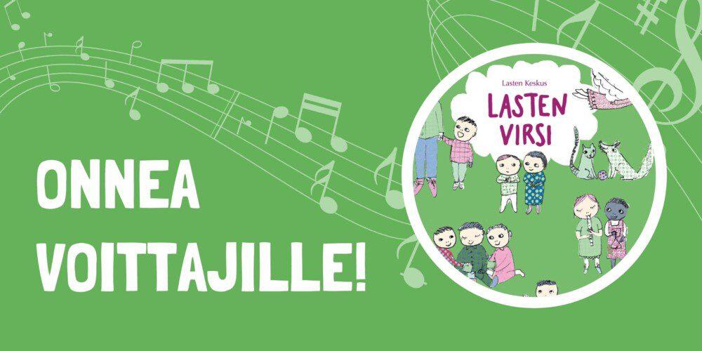 Lasten virsi -kirjan kansi, vasemmalla teksti: Onnea voittajille!