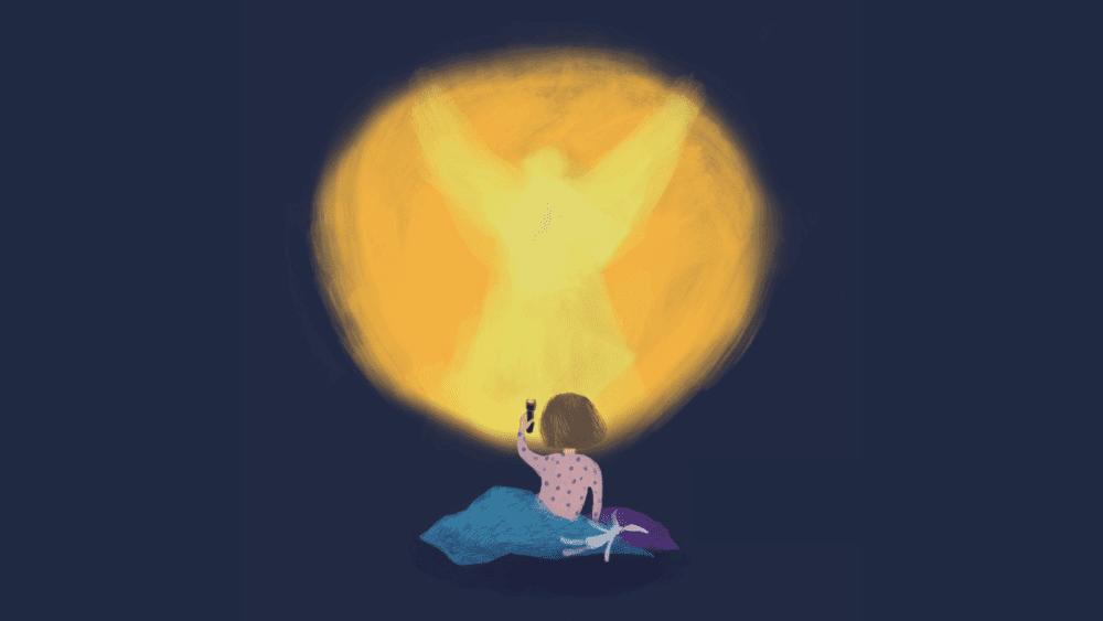 Piirros lapsesta, jonka taskulampun valokeilasta muodostuukin enkeli.